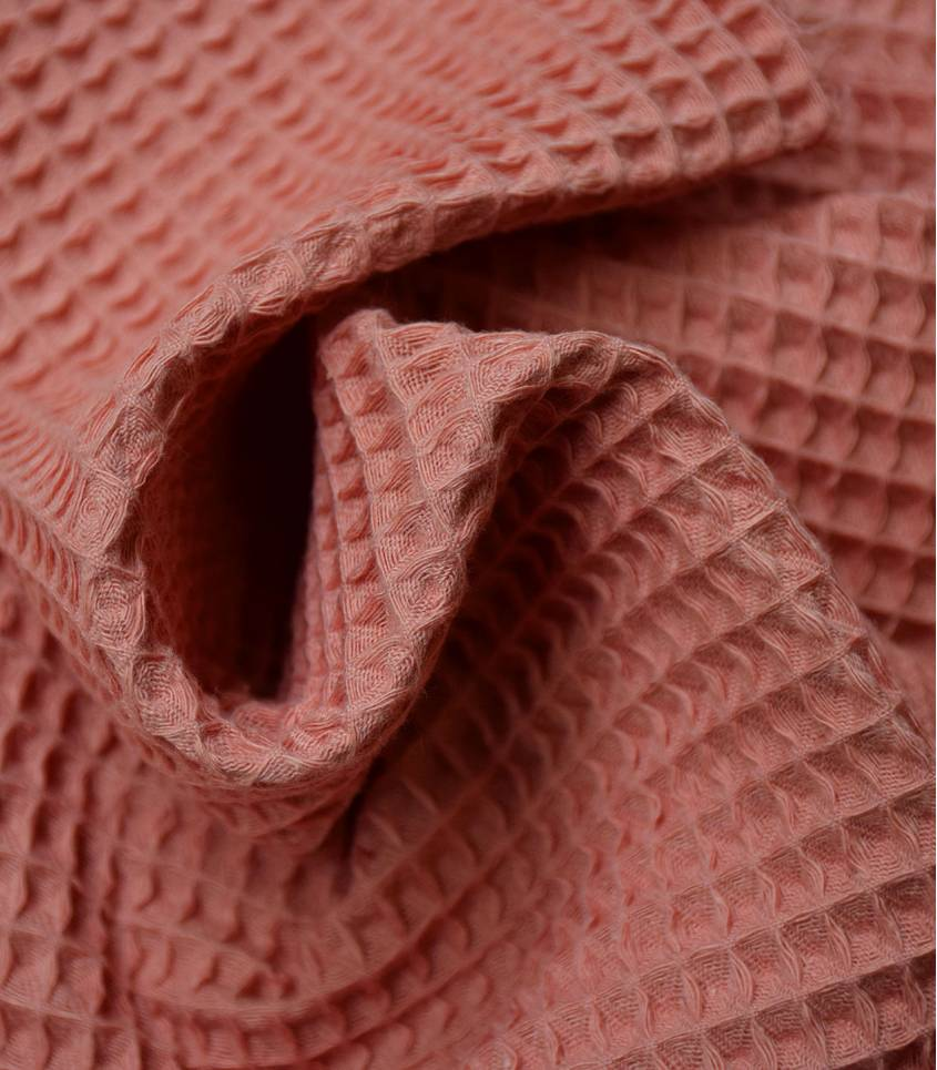 Tissu coton Nid d'abeille - Marsala