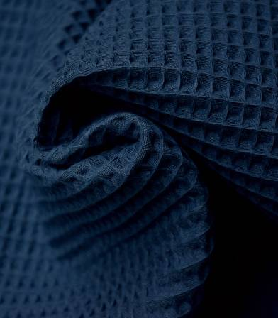 Tissu coton Nid d'abeille - Bleu indigo