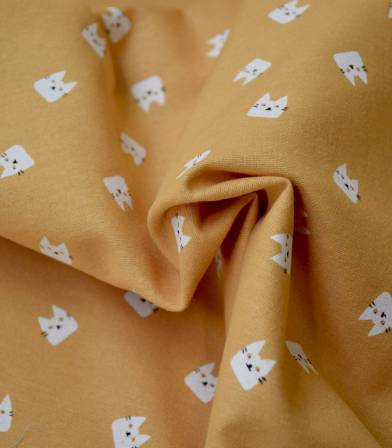Tissu flanelle de coton - Cats ocre