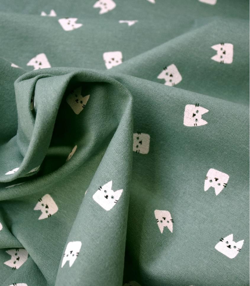 Tissu flanelle de coton - Cats Jade