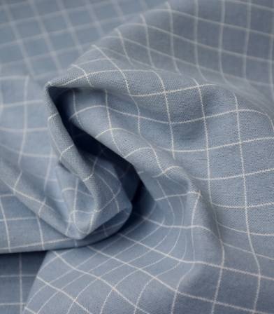 Tissu flanelle de coton - Grid Ciel
