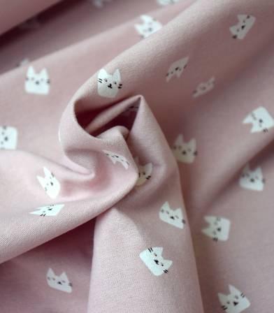Tissu flanelle de coton - Cats rose poudré