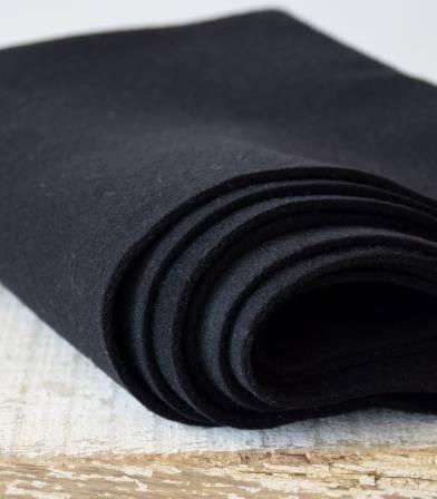 Tissu manteau - Lainage moelleux noir