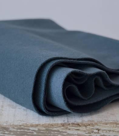 Tissu manteau - lainage bleu orage