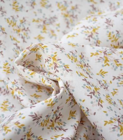 Tissu coton bio - Petit feuillage ocre
