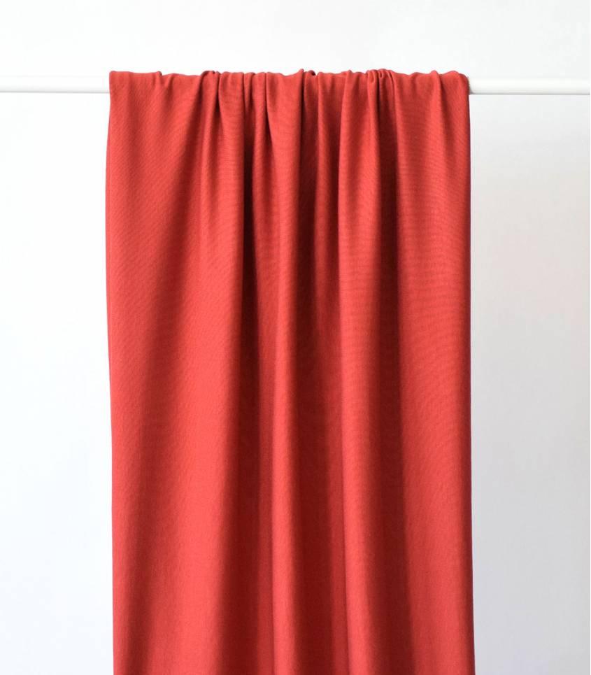 Tissu jersey viscose rouge brique