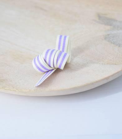 Gros grain rayé lilas 10mm