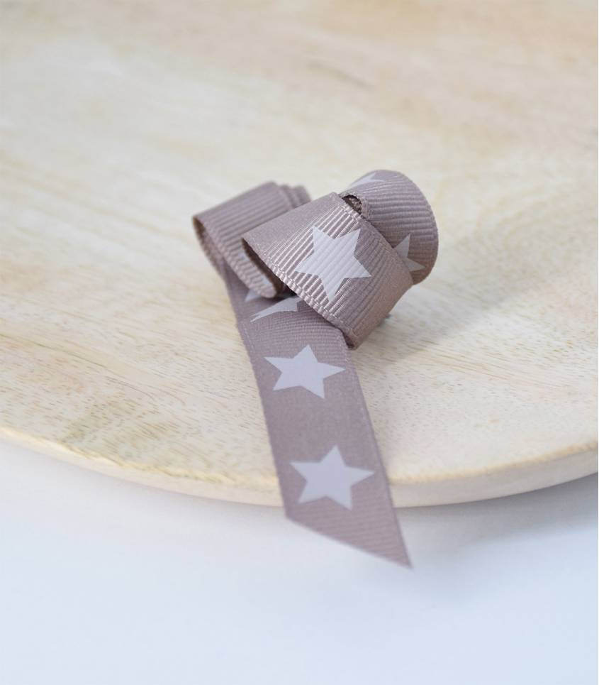 Ruban ros grain étoile châtaigne 15mm
