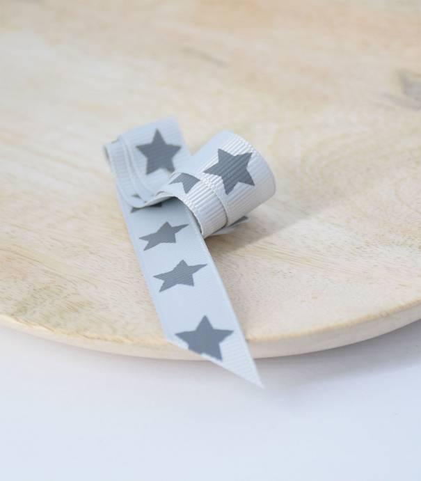 Gros grain étoile gris perle 15mm