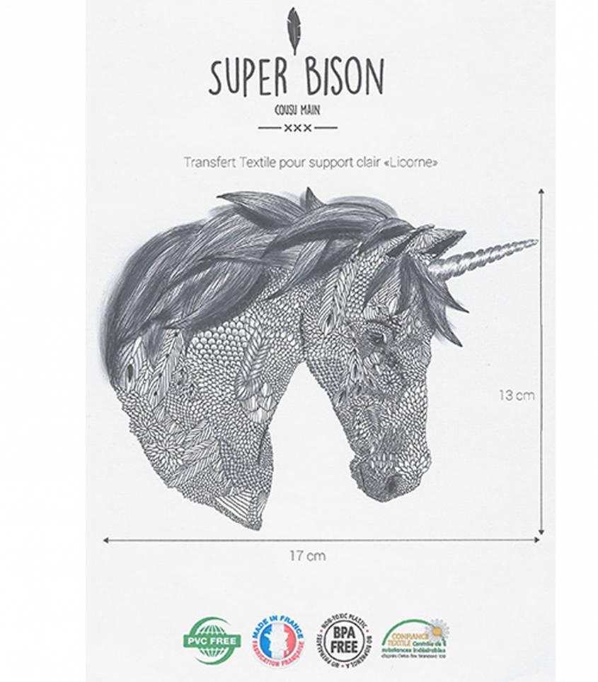 Transfert thermocollant Licorne - Super Bison