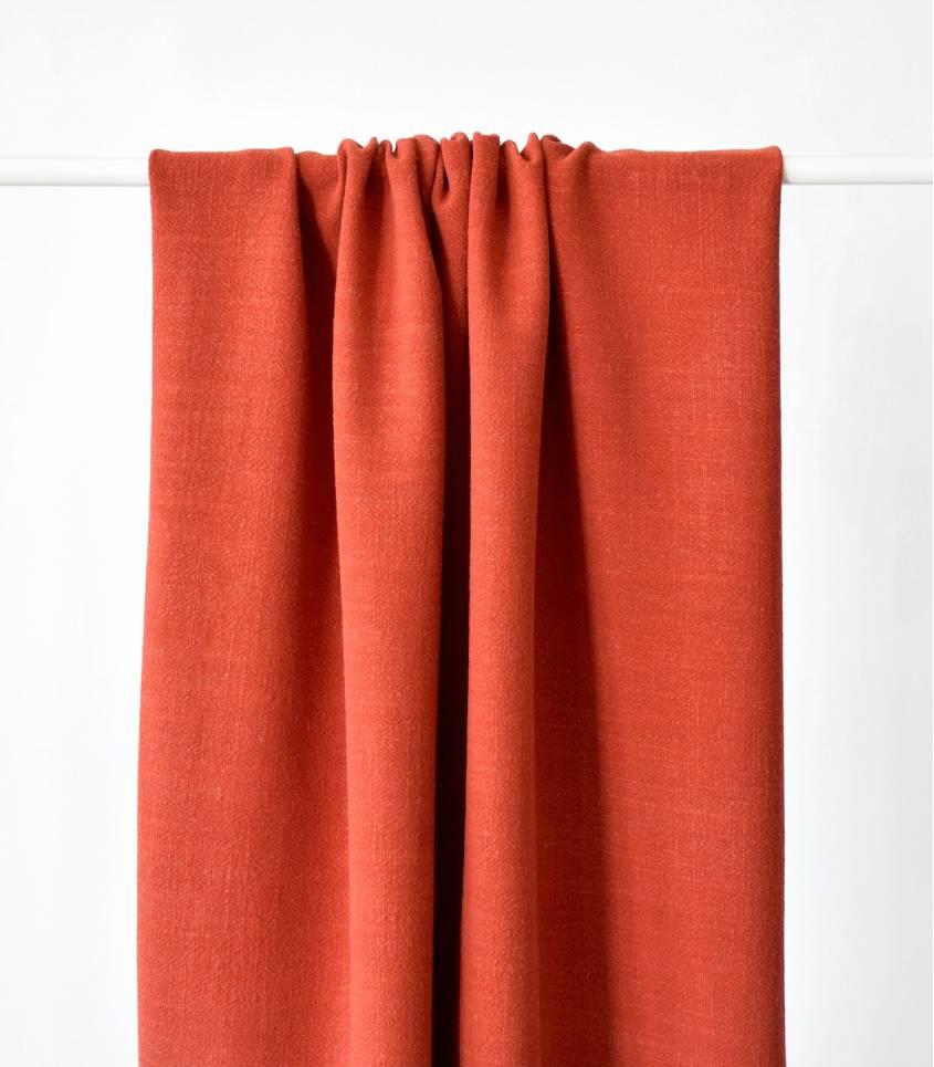 Tissu Lin / viscose - rouge Tomette