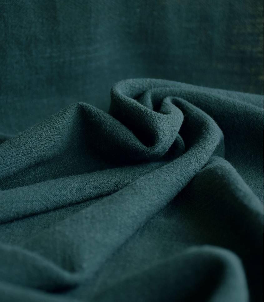 Tissu lin / viscose - Vert forêt