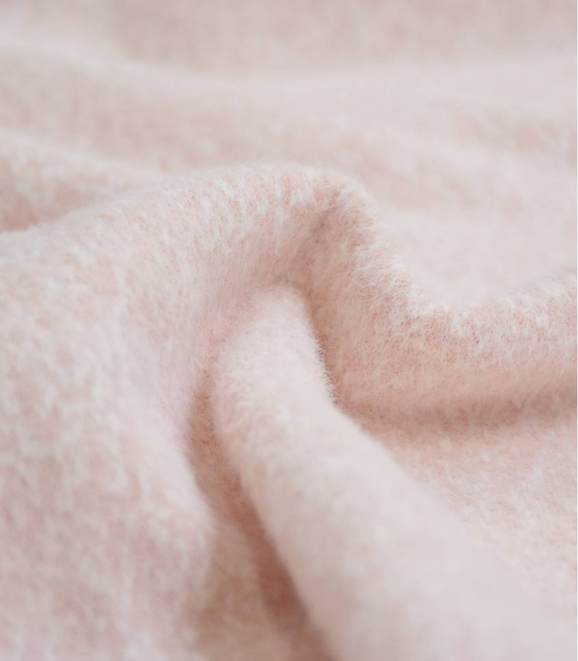 Tissu tricot poils longs - Rose Tendre