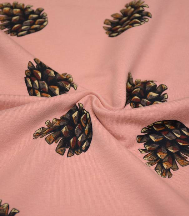 Tissu French terry Pine Cones - Rose Caméo