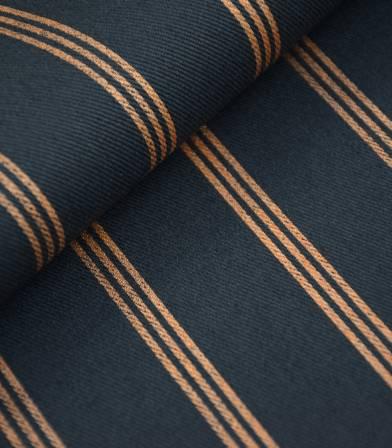 Gabardine Three lines cuivre - Bleu d'encre