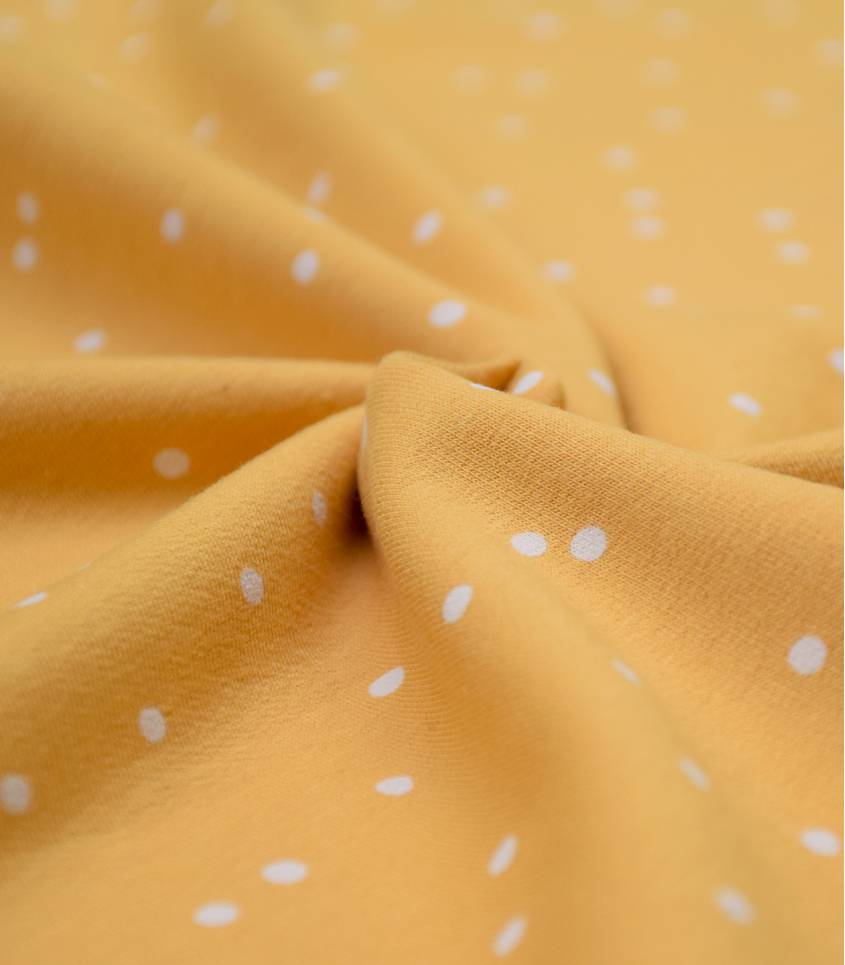 Tissu French terry Snwow dots - Jaune miel
