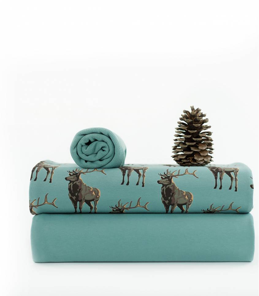 Tissu French terry Deer - Bleu trellis