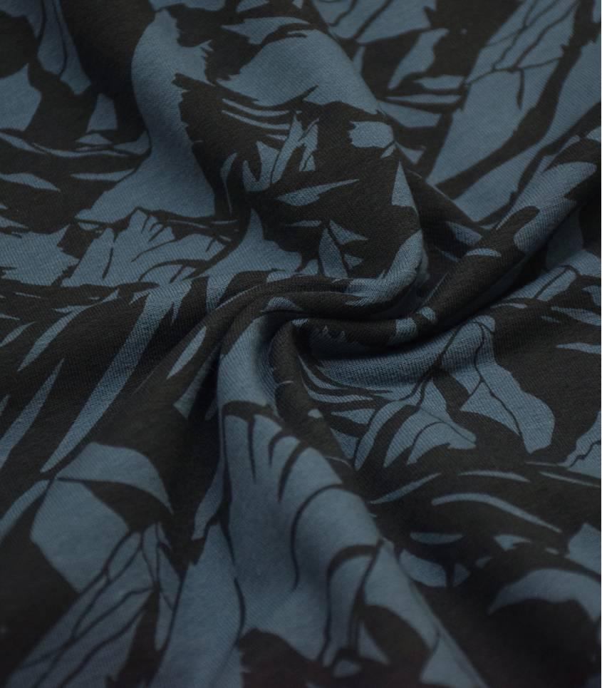 Tissu French terry Mountains - Bleu Orion