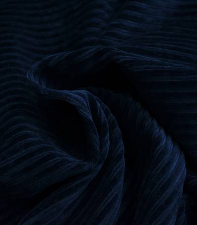Tissu Jersey velours côtelé bleu marine
