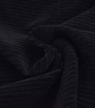 Tissu Jersey velours côtelé noir