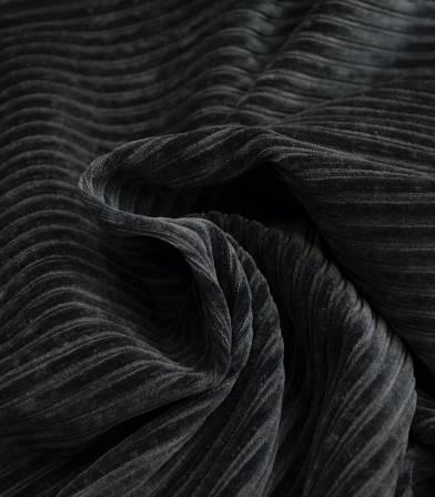 Tissu Jersey velours côtelé gris foncé