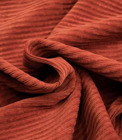 Tissu Jersey velours côtelé rouille