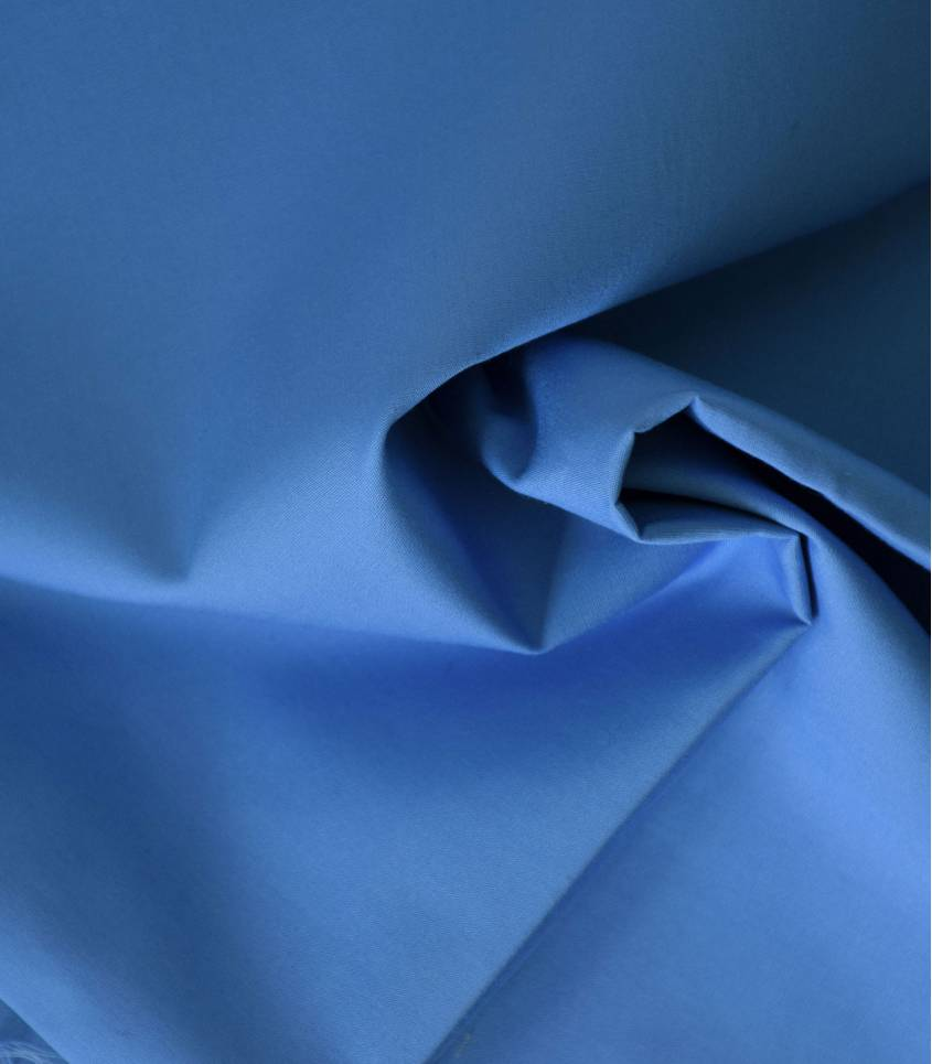 Tissu popeline de coton bleue azur