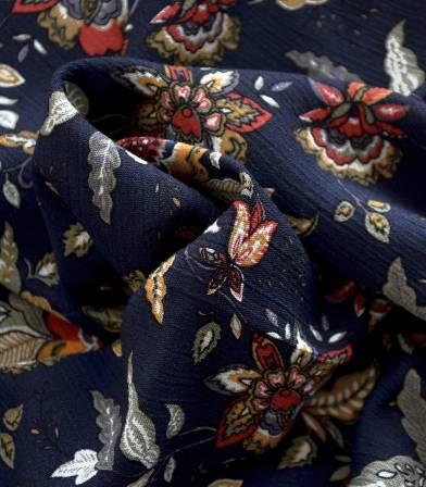 Tissu viscose Bohemian - bleu nuit