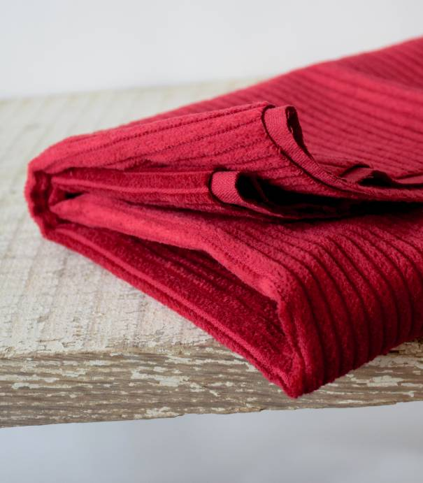 Tissu velours grosses côtes Cerise