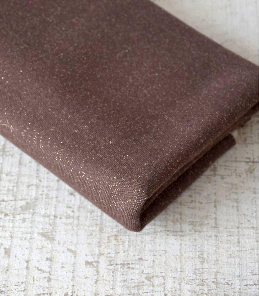 Tissu molleton chocolat - lurex or