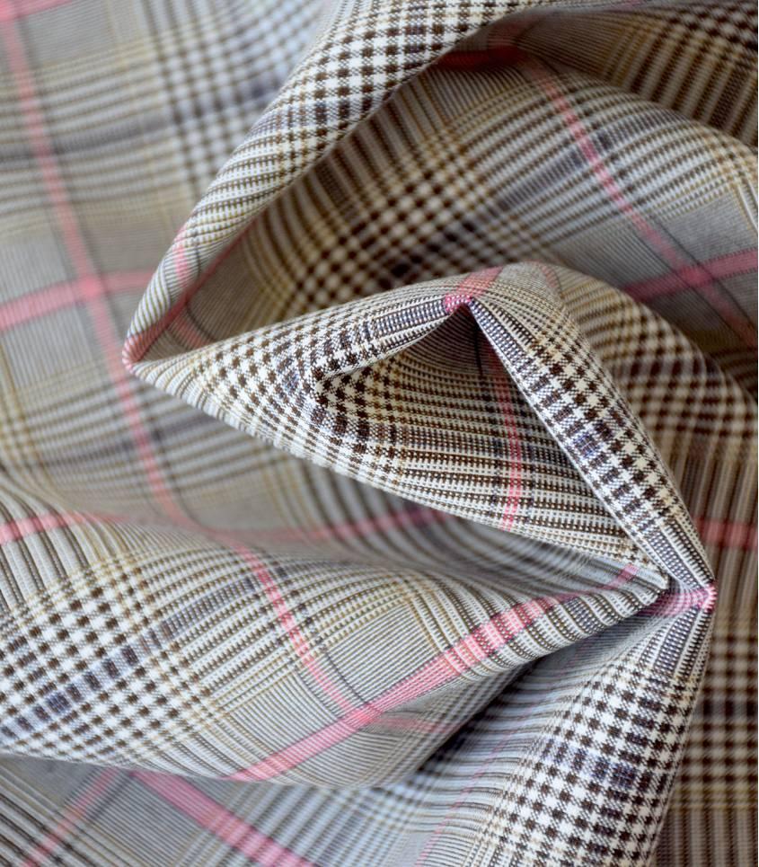 Tissu Prince de galles Pink & Brown