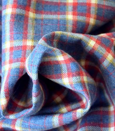 Tissu flanelle carreaux Bleu rouge et blanc