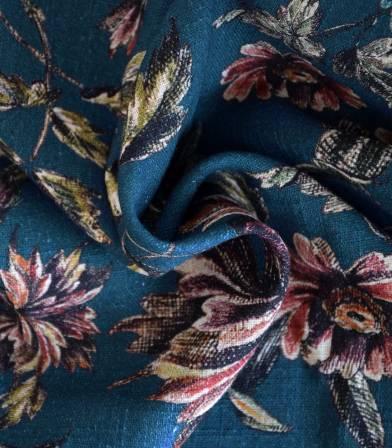 Tissu coton & viscose  Fleurs ancienne - bleu de prusse