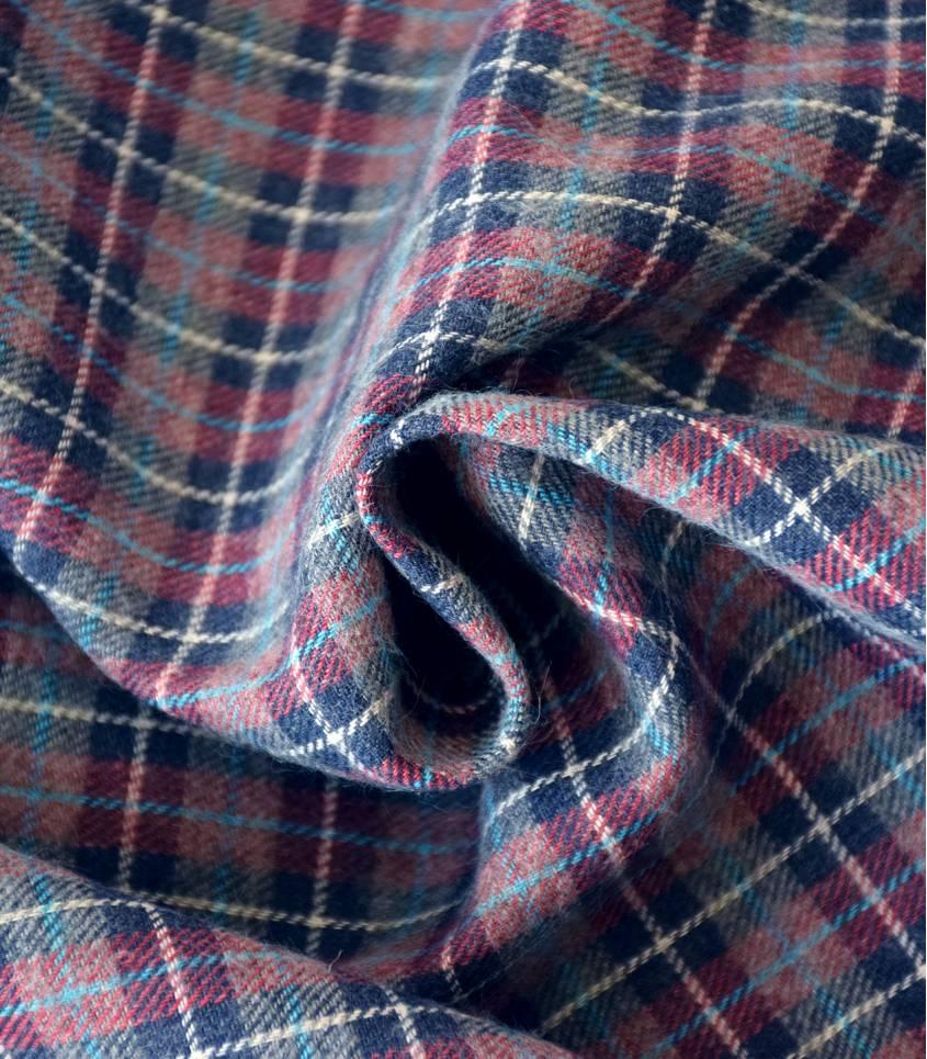Tissu flanelle carreaux Marine gris et rouge