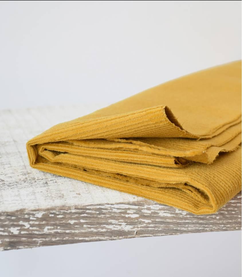 Tissu velours côtelé - Jaune moutarde
