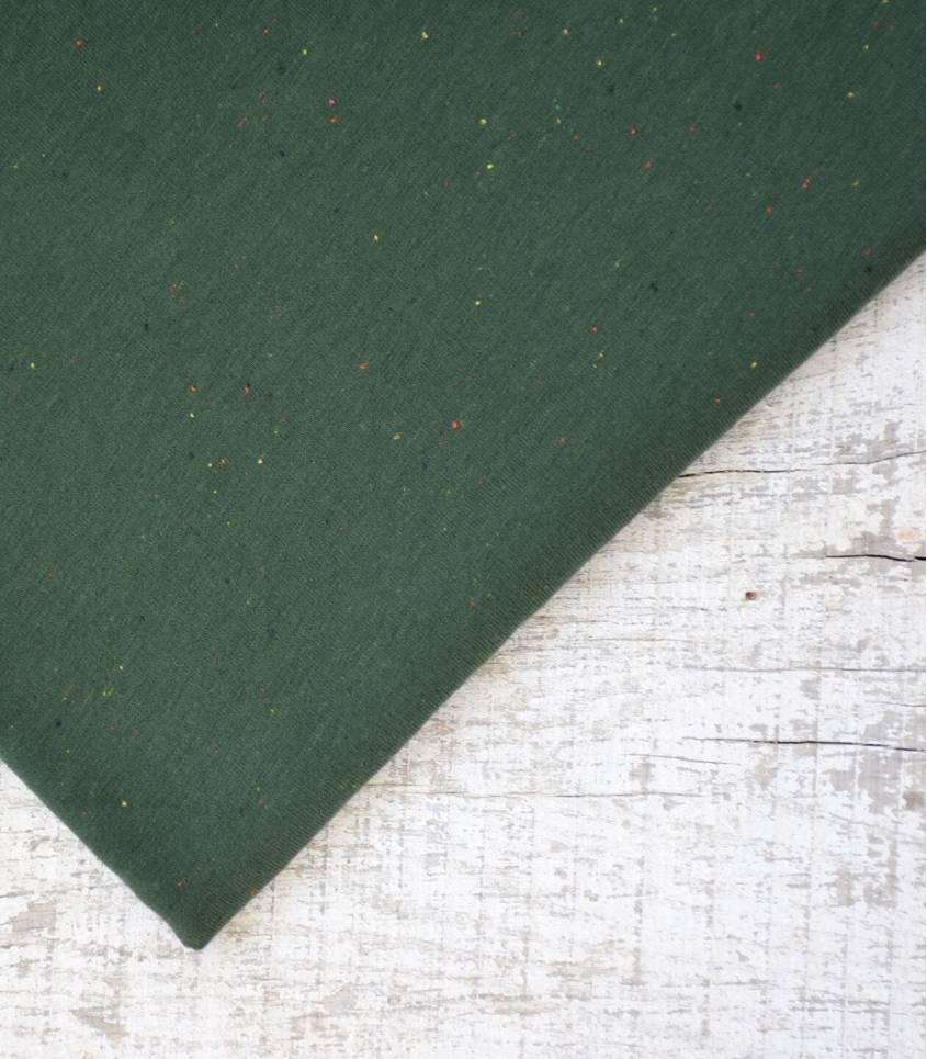 Tissu molleton chiné multico - deep green