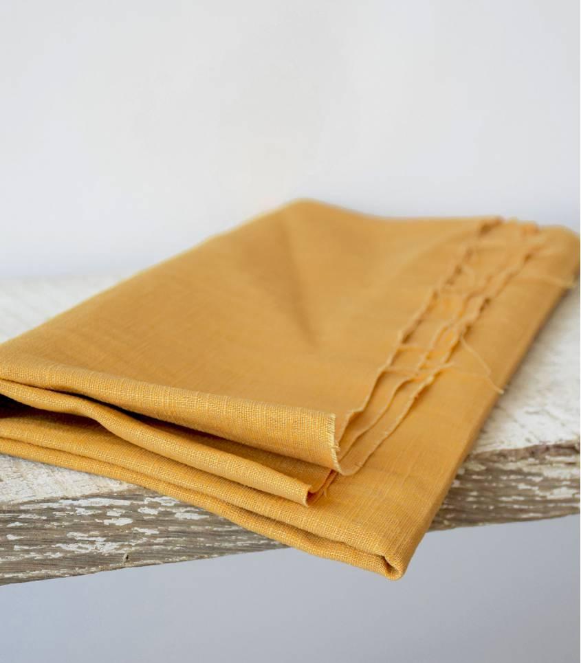 Tissu lin jaune moutarde