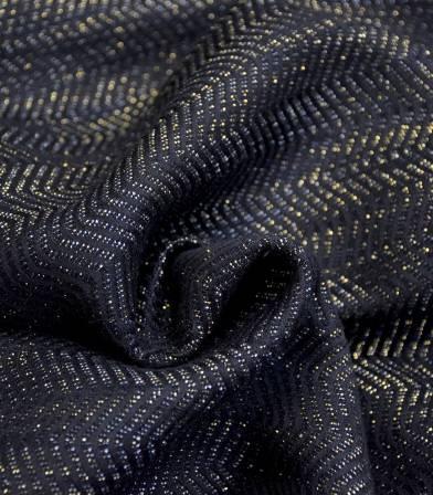 Tissu jacquard Chevrons - Noir Lurex