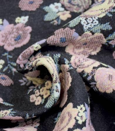 Tissu jacquard Flowers - Powder & Grey
