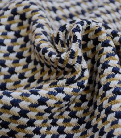 Tissu jacquard de coton Marine & Beige