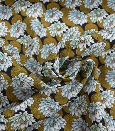 Tissu fleuri Nenuphar - vert Jade