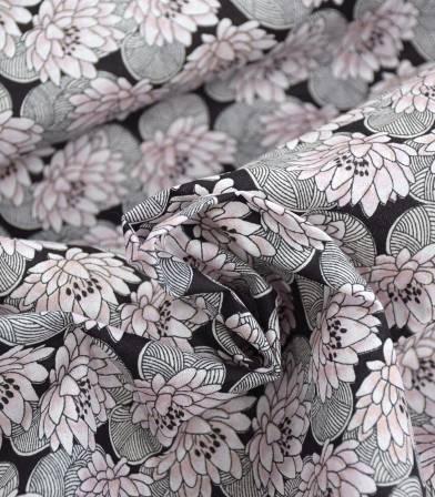 Tissu fleuri Nenuphar - dragée