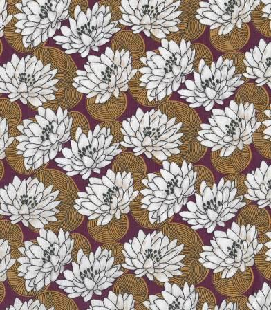 Tissu fleuri Nenuphar - ambre