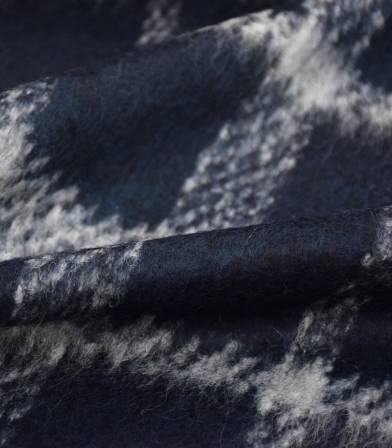 Tissu lainage poilu écossais - Marine