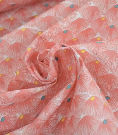 Tissu fleuri Nautilus - Goyave
