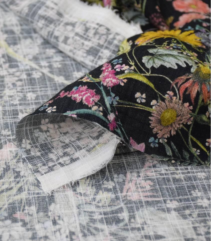 Tissu coton & viscose Champs d'été
