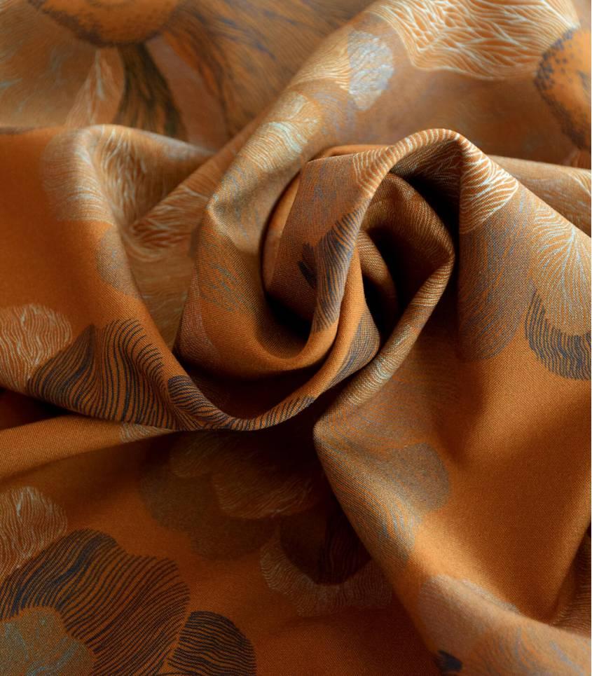 Tissu viscose stretch - Art flower yellow