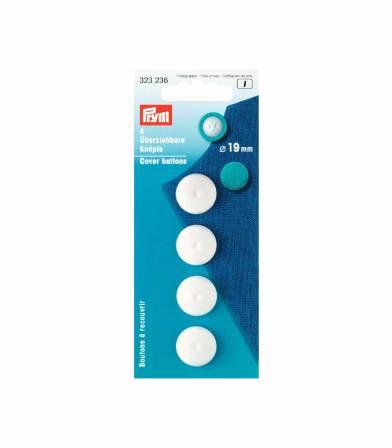 Boutons à recouvrir blanc 19mm - Prym