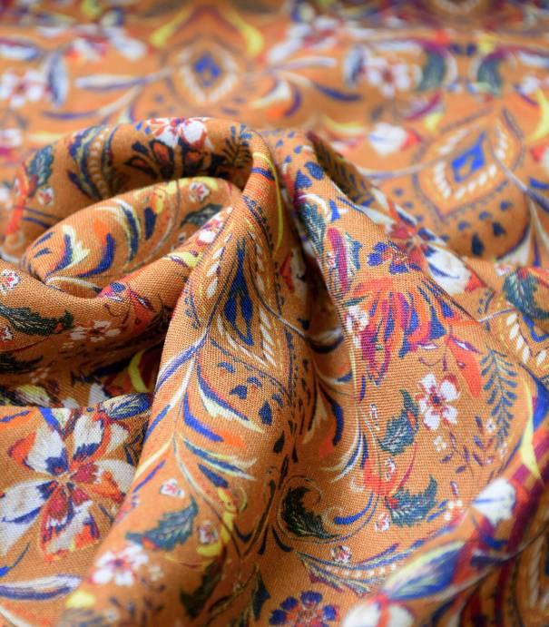 Tissu viscose & Laine - Fleurs Indiennes