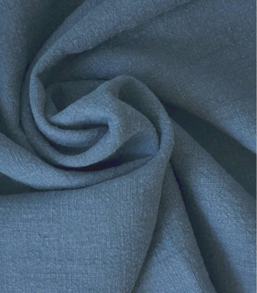 Tissu Lin lavé bleu orage